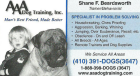 AAA Dog Training, Inc., SPECIALIST IN PROBLEM SOLVING