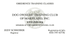 Dog Owners' Training Club of Maryland, Inc., Second Oldest Obedience Club in the USA