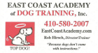 East Coast Academy of Dog Training Inc., housebreaking, jumping, mouthing, destructiveness, pulling, etc.