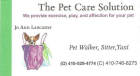 the Pet Care Solution, pet walker, sitter, taxi